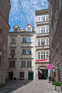 A view of our building (over the open gate) from the very old Kleeblattgasse
