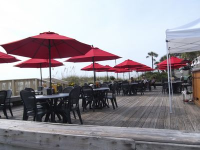 The Dunes Restaurant (on the beach) serves lunch & dinner.