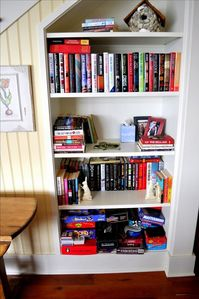 Lots of books to read and games to play! Other bookshelves are around the house.