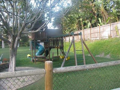 Play Structure within huge fenced yard