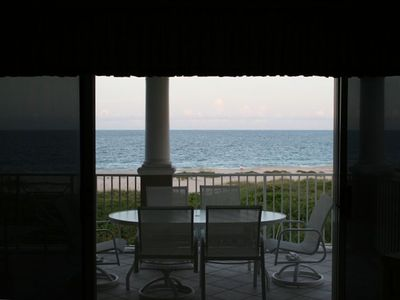 View of the blue water from living room