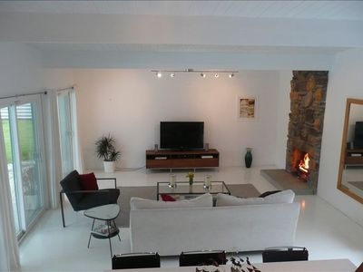 "Living room: 3 Sliding doors, views of mountains & 46"" LCD Hi-Def TV."