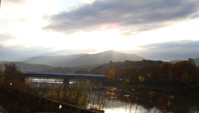 View of Windsor Covered Bridge and Ascutney Mountain