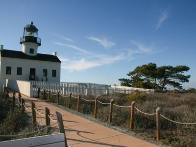 Famous Point Loma Lighthouse at Cabrillo National Monument just miles away