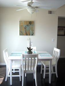 Comfortable dining room with seating for four