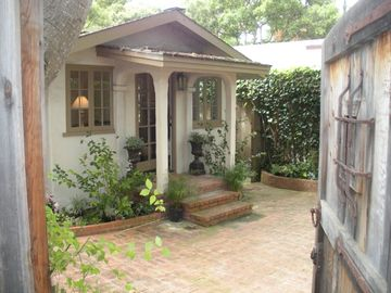 Carmel cottage rental - Front entry and courtyard to private, gated property.