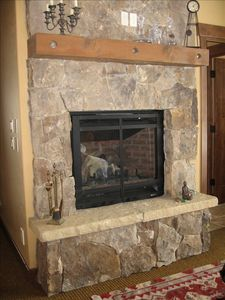 Master Suite moss rock fireplace