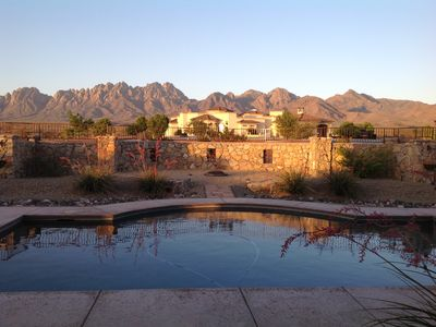 View of Organ Mountains and pool from back patio