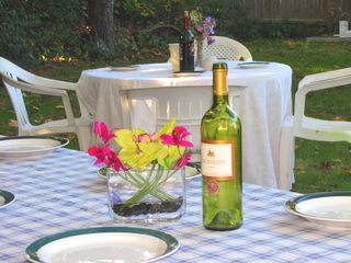Mashpee house photo - Dine in the backyard. Two tables, seats 12