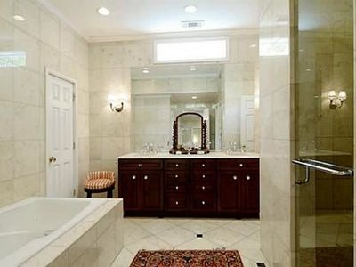 Master Bath with Floor to Ceiling Marble