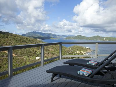 Views of Coral Bay and British Virgin Islands from one of Iola's decks.