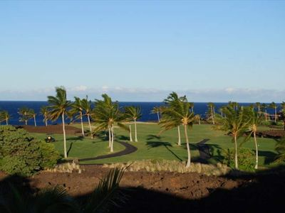 Enjoy your elevated view from our upper Lanai. Golf and Ocean panoramas!