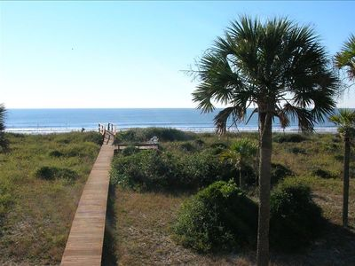 A lofty view of our private boardwalk and deck. Gorgeous location!!