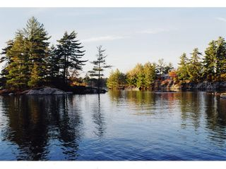 Stoney Lake cottage photo - Picnic Islands (left), swim dock (centre), Main Building (right): 2 acres!