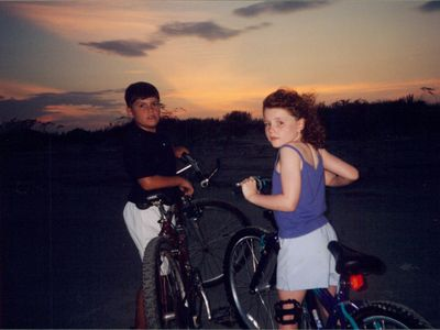 Danny and Helen sunset bike ride on Folly