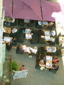 Uzes apartment rental - Looking down to the nearest cafè/restaurant