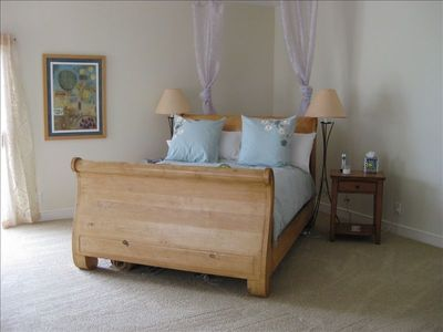 Master Queen Sleigh Bed - lay back and enjoy an ocean view!