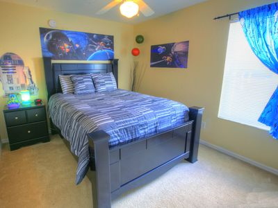 Galaxy & Stars Bedroom Queen size bed, TV and DVD player