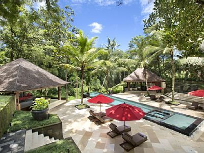 The Sanctuary, Bali's main pool and lounge chairs