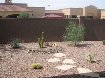 Sahuarita townhome rental - back yard facing clubhouse complex