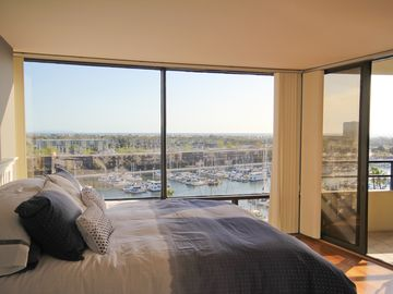 Marina del Rey condo rental - Master Suite of the Marina del Rey Condo with Marina and Ocean views