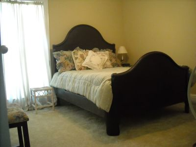 Upstairs bedroom with full-size antique bed