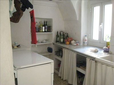 Kitchen with Gas Stove, Refrigerator