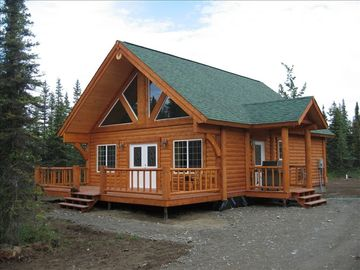 Soldotna cabin rental - Outside view of the cabin, not shown is a large detached garage.