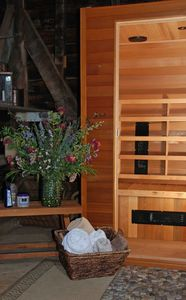 Relax and refresh in the rustic sauna shed ...