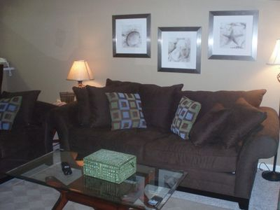 Living Area- Nice Furniture-sofa (sleeper), loveseat and tables