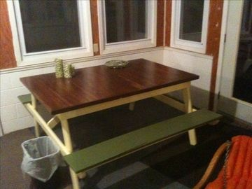 Antique picnic table for breakfast north end of sunporch -watch fog lift in am.