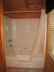 Gatlinburg cabin photo - Jacuzzi tub / shower in downstairs bath
