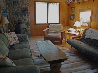 Bath cabin photo - Cabin 1 Living space, double futon and wood stove