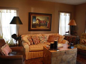 Enjoy a book on a comfy sofa at Trinity Pines.