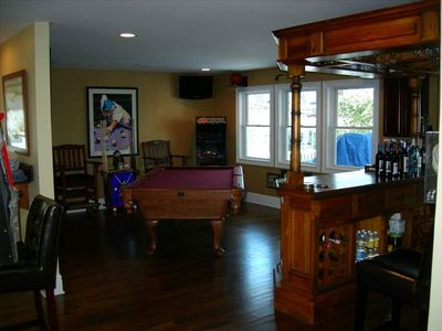 Media/Game Room w/Billiards Table, Bar, Arcades & balcony with West river Views