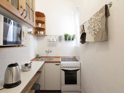 Budapest apartment rental - Tidy kitchen has everything for preparing light meals
