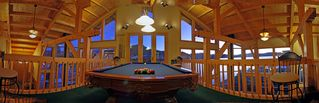 Pagosa Springs house photo - Pool Table at Mezzanine Level 2 over Dining Area looking out over Lake Hatcher