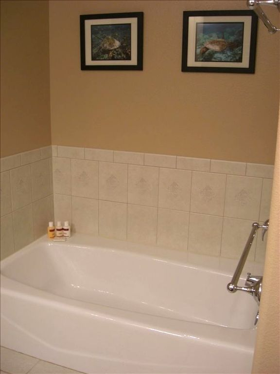 View of master tub. Both bathrooms are full-bathrooms w/tubs and showers!