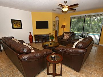 Spacious Family Room with Large TV