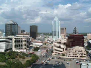 Aerial of downtown Austin - the unit is next to tall Frost Tower bldg in pic