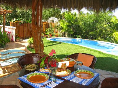Palapa eating or relaxing area