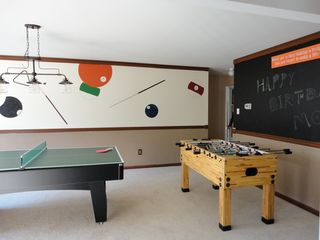 Shawnee house photo - Game room: Ping pong, pool, foosball, or play pictionary on the blackboard!
