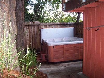 Hot Tub in the side yard.