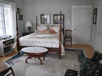 First floor queen bedroom with adjoining full bathroom