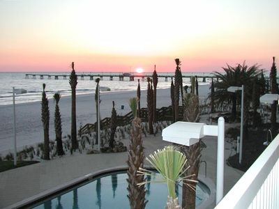 Enjoy the gorgeous sunset by the fishing pier from our 2nd floor balcony