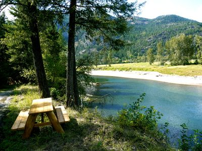 picnic area overlooking river and beach