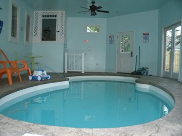 Indoor Swimming Pool is heated; plus air-space is heated in winter, enclosed.