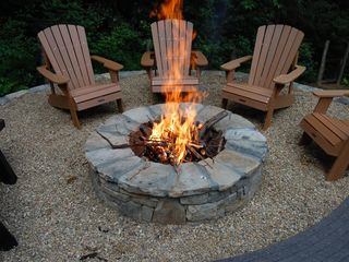 Cashiers house photo - Fire Pit grate makes building a great fire a snap