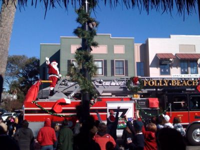 Santa arrives in style on Folly!