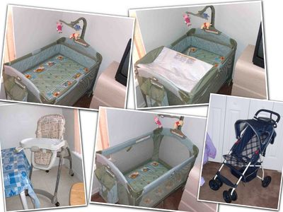 Baby; Crib, hi-chair and stroller